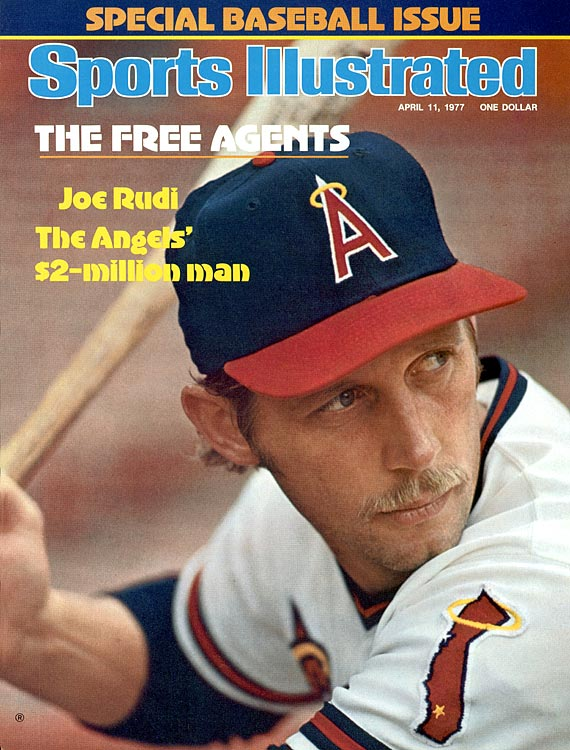 California Angels outfielder Joe Rudi poses on the cover of <italics>Sports Illustrated</italics> in 1977.
