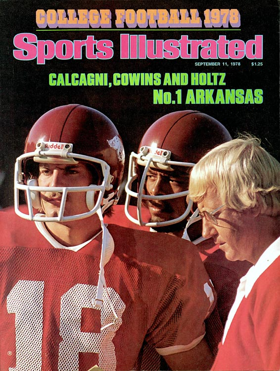 Arkansas coach Lou Holtz and players Ron Calcagni and Ben Cowins appear on the cover of <italics>Sports Illustrated </italics>in 1978.