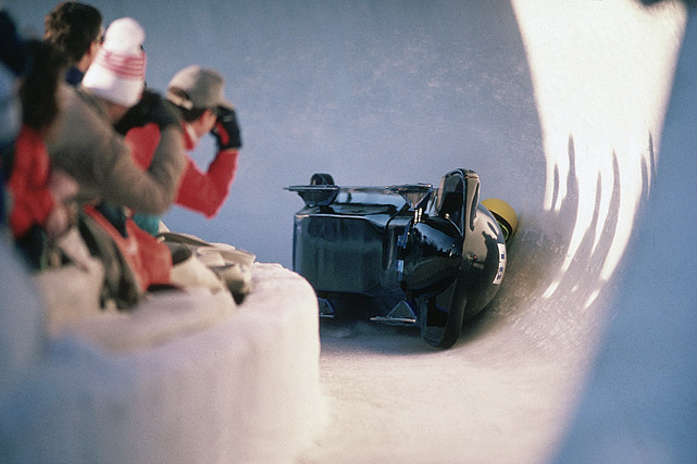 The Jamaican national bobsled team are seen after losing control of their sled and crashing at the 1988 Winter Olympics in Calgary.