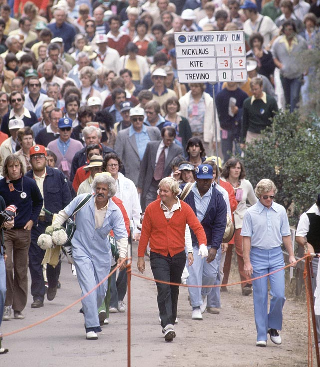 Jack Nicklaus walks with his caddy, Angelo Argea, during the PGA Championship at Pebble Beach in August 1998.