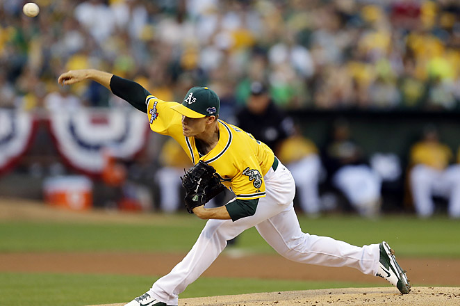 Rookie Sonny Gray struck out nine gave up just four hits through eight innings in his postseason debut.