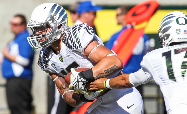 Junior tight endColt Lyerla started 12 career games for the Ducks, accruing 565 yards and 12 TDs on 34 catches.