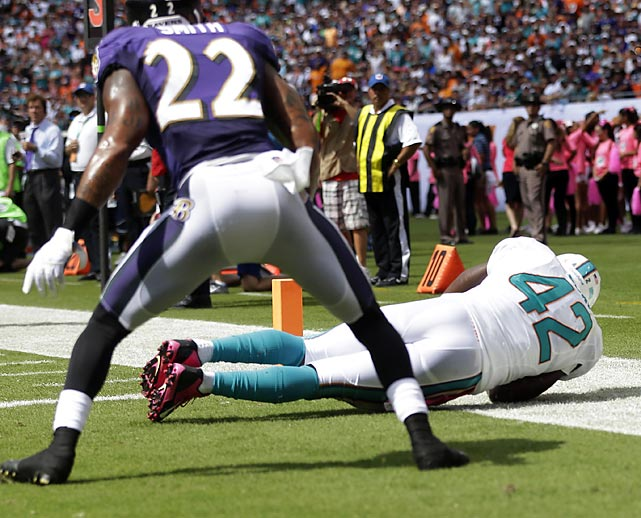 Miami tight end Charles Clay has become one of the Dolphins most consistent players. Here he gets both feet down for a touchdown before falling out of bounds.