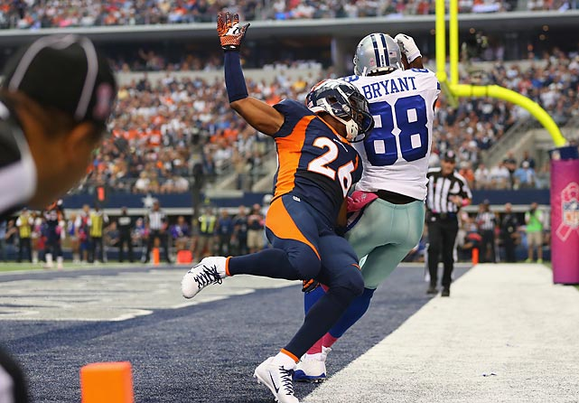 The NFL is in its third season of reviewing every scoring play. Here are some of the more interesting ones from Week 5, beginning with Dez Bryant. The officials ruled that his heel didn't land out of bounds, on the white portion of the turf, during this scoring reception against the Broncos.