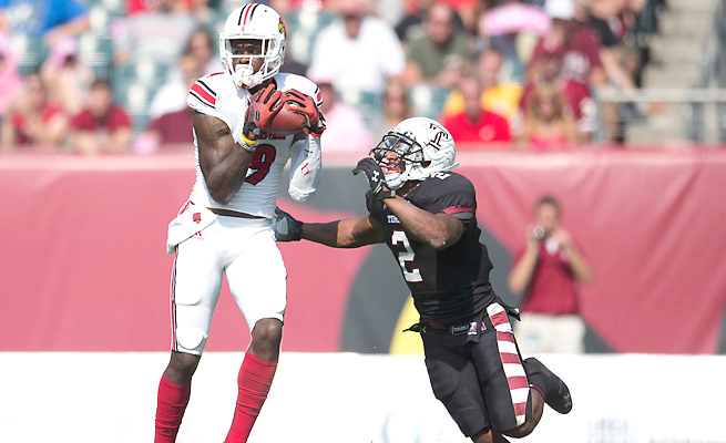 DeVante Parker made just two catches before leaving Louisville's win Saturday with a shoulder injury.