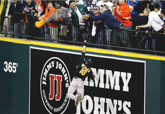 Josh Reddick insisted after the game that he would have caught Victor Martinez's home run.