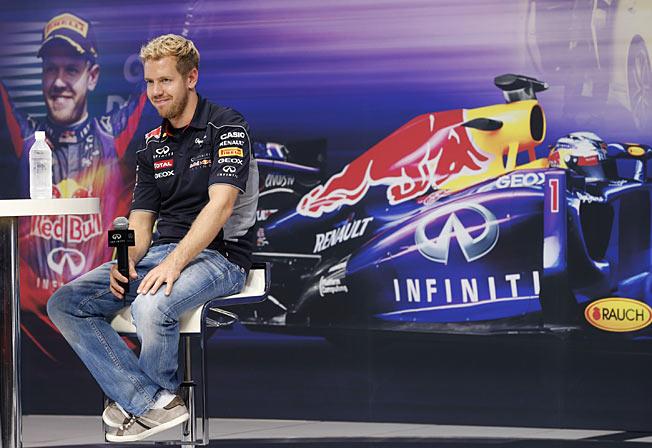 Uncatchable: Sebastian Vettel has won the last four F1 races while leading every lap.