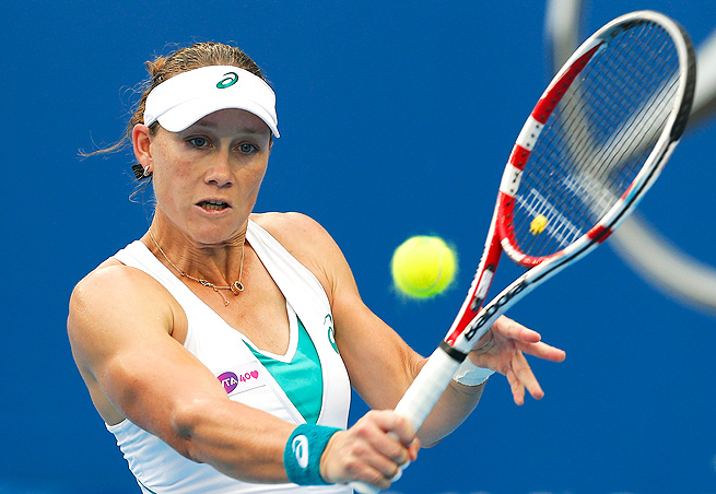 No. 3-seed Sam Stosur cruised past Belinda Bencic 6-4, 6-2, reaching her first quarterfinal since Carlsbad.