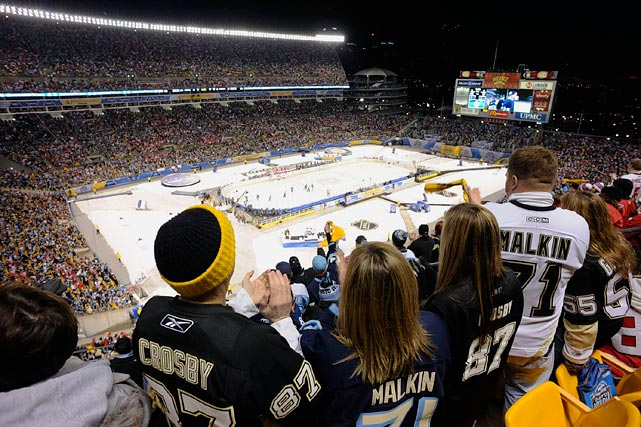 The Capitals and Penguins braved the elements in the NHL Winter Classic at Heinz Field on Jan 1, 2011. The teams played through rain and gusts of wind, and Washington edged out a 3-1 victory on the back of two goals from Eric Fehr.