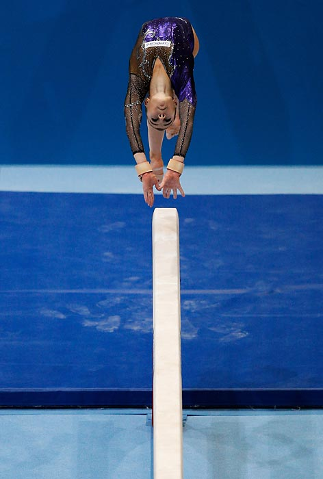 Ilaria Kaeslin of Switzerland competes in the Balance Beam Qualification on Day Three of the Artistic Gymnastics World Championships on Oct. 2.