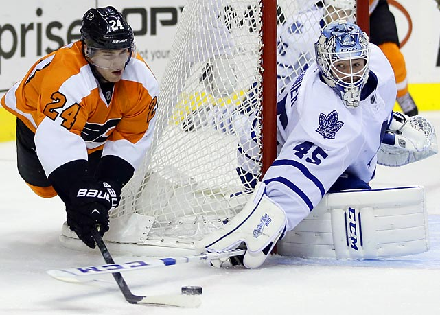Philadelphia Flyers' Matt Read tries to get a shot past Toronto Maple Leafs' Jonathan Bernier during the second period on Oct. 2 in Philadelphia.
