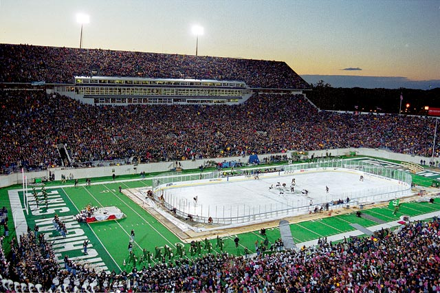 "The game, referred to as the ""Cold War,"" was played on Oct. 6, 2001 in front of 74,544 fans, which at the time set a world record for largest crowd at a ice hockey game. The two in-state rivals ended the game locked in a 3-3 tie."