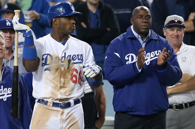 Magic Johnson is part of an investment group that purchased the Los Angeles Dodgers in 2012.