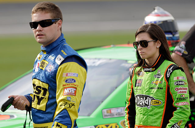 Danica Patrick crashed out of Sunday night's Coca-Cola 600 when she was caught up in an accident started by driver Ricky Stenhouse Jr., her boyfriend.