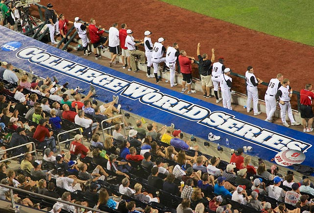 The word college was misspelled on the roof of the third base dugout at the College World Series in Omaha.