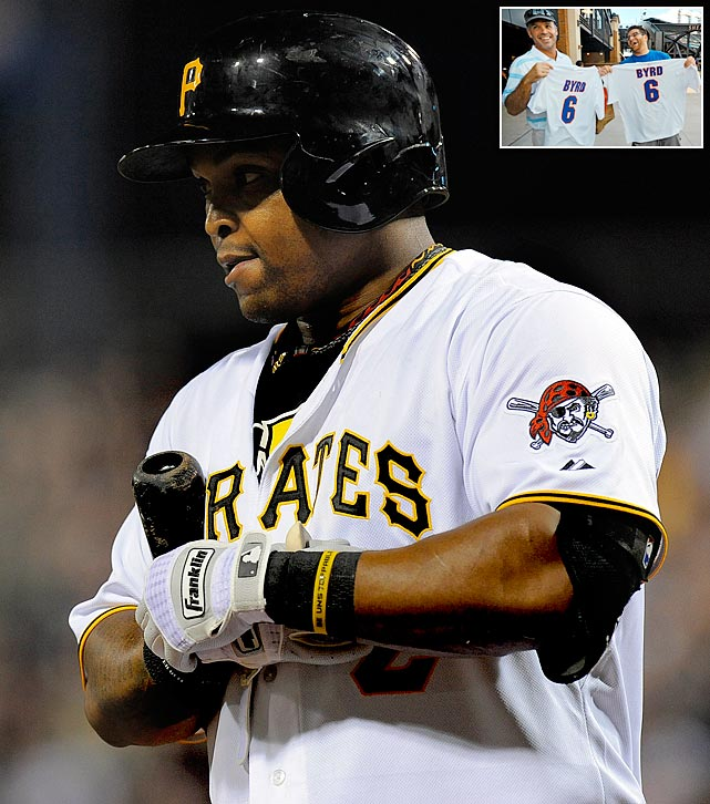 The Mets traded outfielder Marlon Byrd to the Pirates a few hours before they played the Phillies on Marlon Byrd T-shirt night.