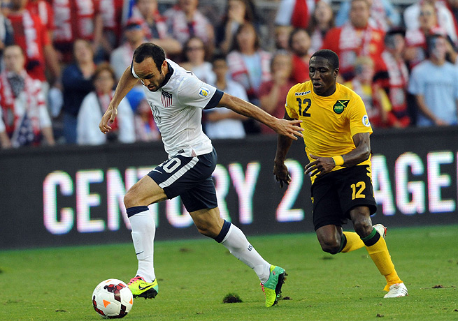 Landon Donovan played a subdued first half against Jamaica before being replaced by Graham Zusi.
