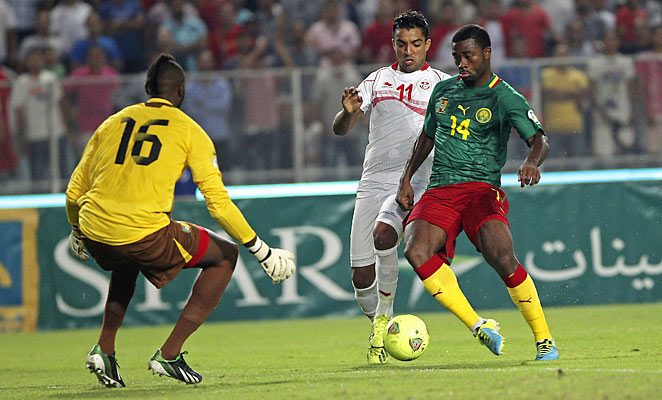 Cameroon's Aurelien Chedjou couldn't put his team on the board in a scoreless draw with Tunisia.