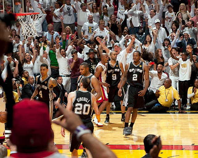The San Antonio Spurs appeared to have the 2013 NBA Championship all but won. Up 3-2 in the Finals, they led the Miami Heat by five with 28 seconds to go, and they had the ball. Security at the American Airlines Arena even brought the yellow rope out, anticipating a Spurs championship celebration. But LeBron James hit a three to cut the lead, and Ray Allen hit a desperation three at the buzzer to force overtime and save Miami's season. Miami won the series in seven, but San Antonio's Game 6 loss instantly became one of the most heartbreaking in NBA history.