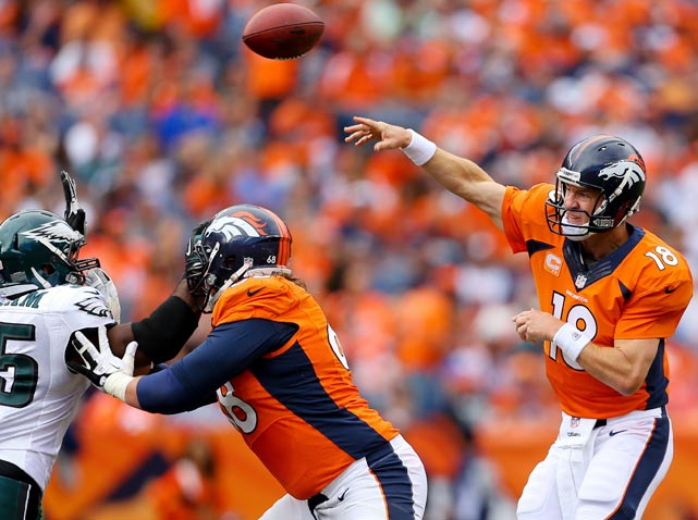 Peyton Manning wasted no time getting down to business in the 2013 NFL season, throwing for seven touchdowns in the very first game of the year. His Denver Broncos followed that up with a historic first four games, racking up 179 points (44.8 per game), the most since the AFL-NFL merger in 1970 by a comfortable margin. In that span, Manning completed 75% of his passes for 1,470 yards with 16 TDs and zero interceptions, and the Broncos went 4-0.