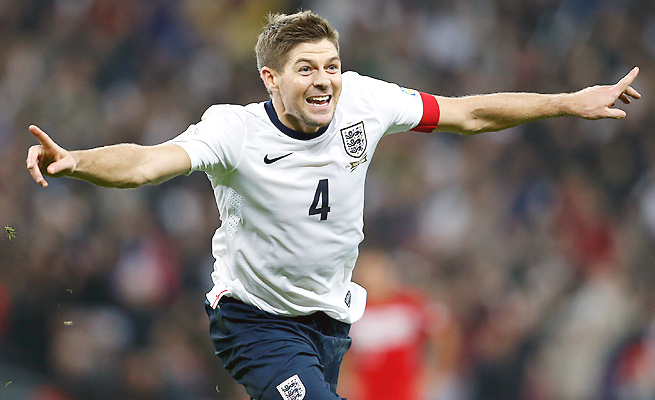Steven Gerrard's 88th-minute score eased all doubts about England's qualification for the World Cup.
