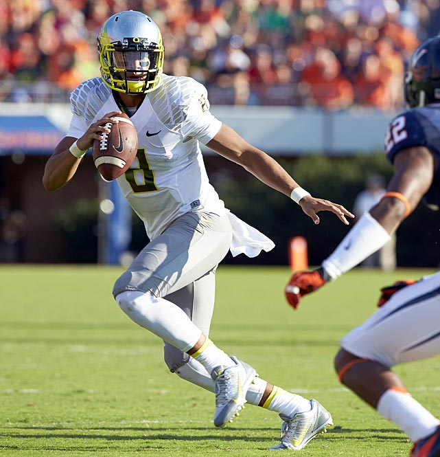 The Ducks' star has thrown for 17 TDs and no interceptions while averaging 10.4 yards per carry.