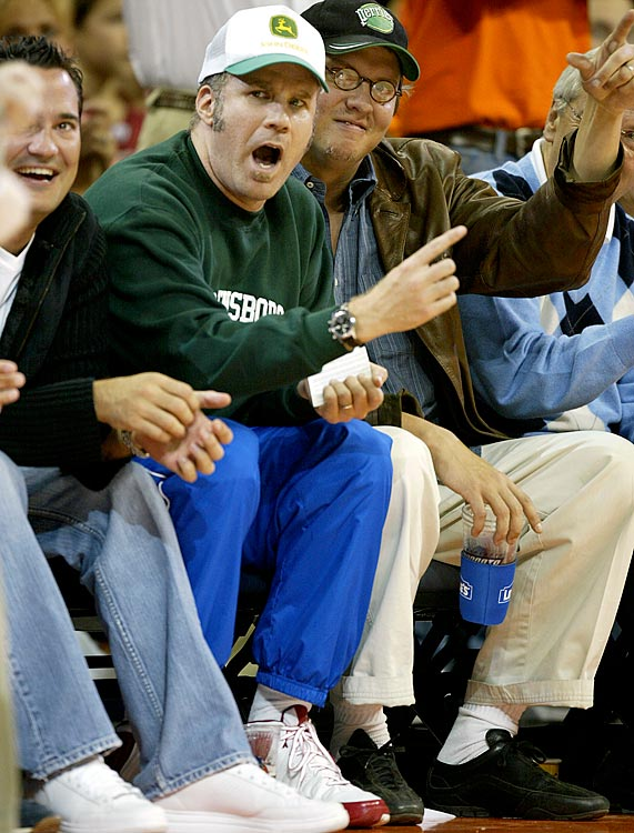 Will Ferrell cheers during the Charlotte Bobcats game against the Boston Celtics on Nov. 5, 2005 at the Charlotte Bobcats Arena in Charlotte, N.C.
