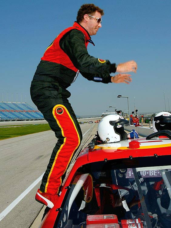 Will Ferrell gets out of the pace car before practice for the NASCAR Nextel Cup Series USG Sheetrock 400 on July 8, 2006 at Chicagoland Speedway in Joliet, Ill.