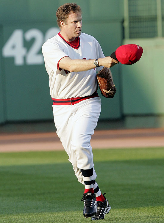 Will Ferrell tips his cap toward the Boston Red Sox dugout as he trots from the bullpen in mock relief to throw out a ceremonial first pitch prior to the Red Sox game against the Kansas City Royals on July 17, 2006 at Fenway Park in Boston.