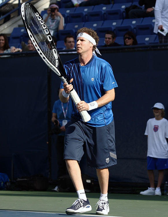Will Ferrell competes with an oversized racquet at the K-Swiss Global Tennis Showdown to benefit the Swedish School of LA on May 2, 2009 at the UCLA Tennis Center in Los Angeles.