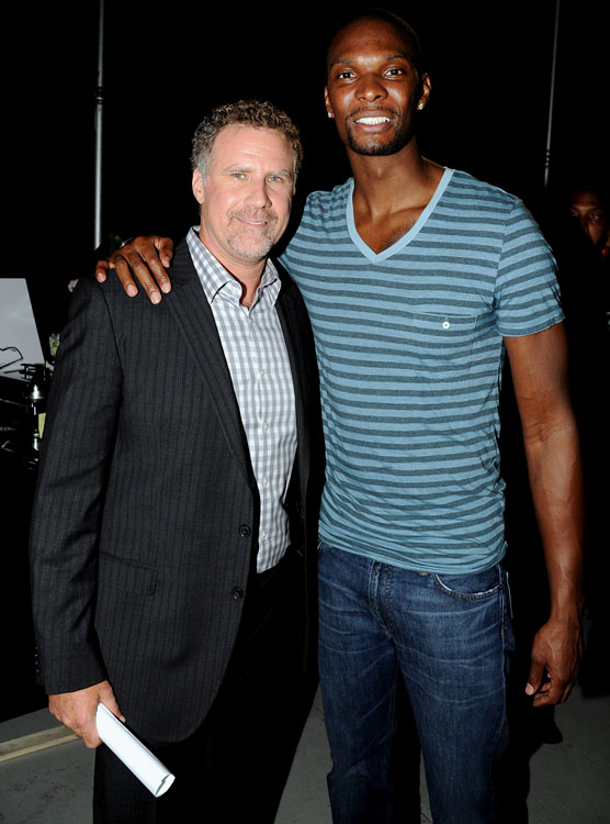 Will Ferrell and Chris Bosh pose together at DoSomething.org and VH1's 2012 Do Something Awards on Aug. 19, 2012 at Barker Hangar in Santa Monica, Calif.