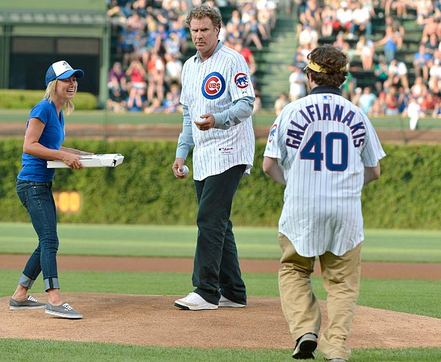 First pitch prior to Cubs vs. Marlins at Wrigley Field in Chicago.