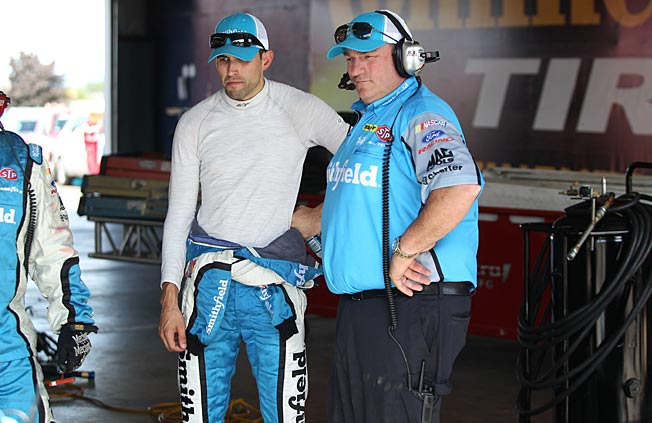 Todd Parrott (right, with Aric Almirola) guided Hall of Famer Dale Jarrett to the 1999 Cup title.
