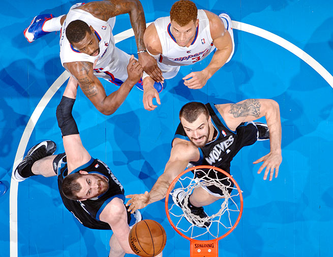 Kevin Love (front left) and Nikola Pekovic form a strong big-man combination for the Timberwolves.