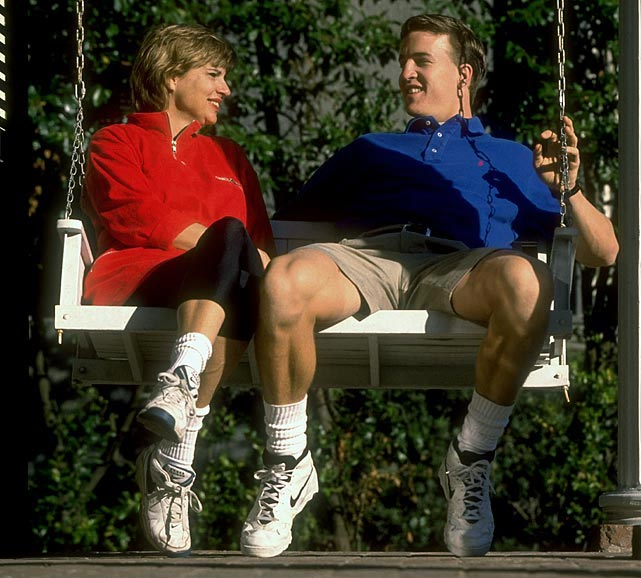 Peyton sits on a porch swing with his mom Olivia at their home in New Orleans.