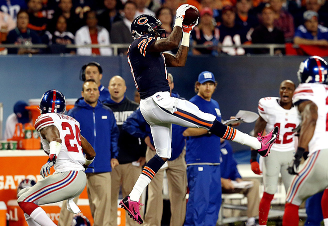 After an injury-riddled rookie season, Alshon Jeffery has climbed up the Bears' receiving depth chart.