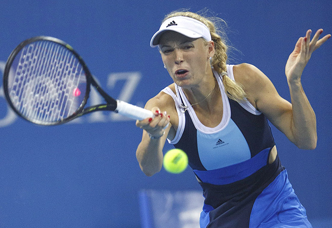 Caroline Wozniacki struggled at the start, but secured the only break in the third set.