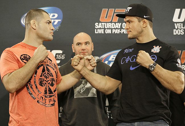 Velasquez (left) will face Junior Dos Santos Saturday, the man he beat to claim the UFC heavyweight title.