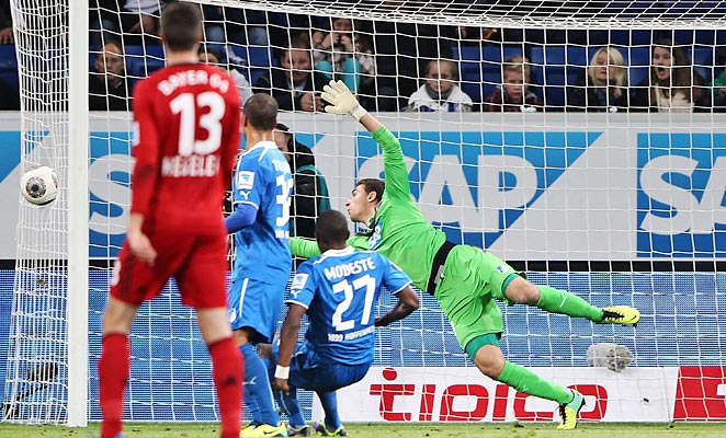 Stefan Kießling's header hit side netting, but found its way into the goal through a hole in the net.