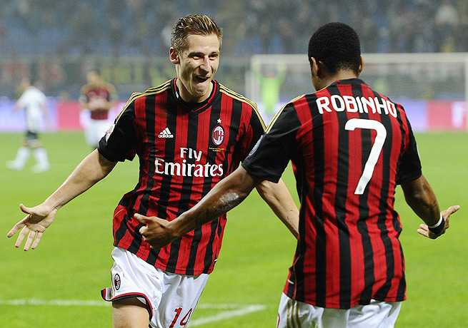 Valter Birsa (left) gave Milan the only goal it needed with a strike in the 22nd minute against Udinese.