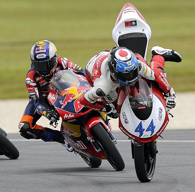 Miguel Oliveira of Portugal crashes on turn four of the Moto2 race at the Australian Motorcycle Grand Prix.
