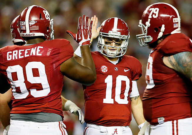 Quarterback AJ McCarron (10) and unbeaten Alabama are ranked No. 1 in the initial 2013 BCS standings.