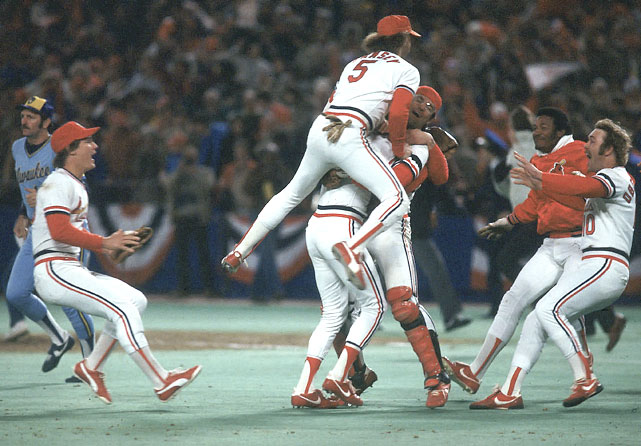 Cardinals players celebrate after defeating the Milwaukee Brewers in Game 7 of the 1982 World Series. Catcher Darrell Porter was named MVP.