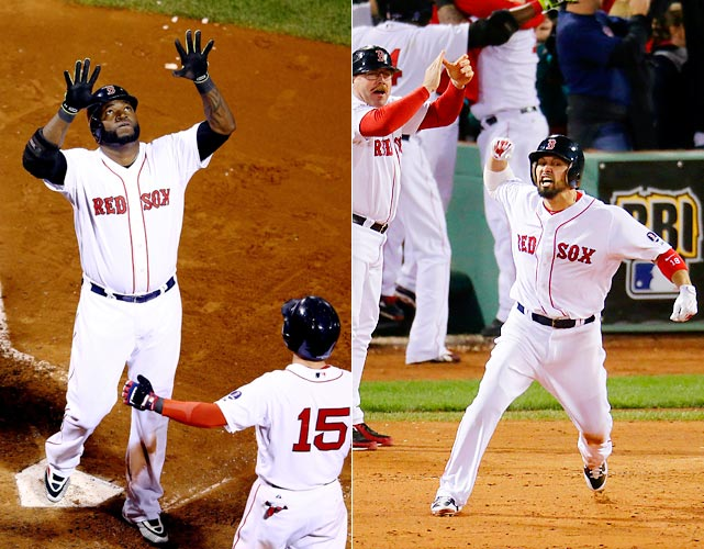 Eight of the Red Sox 21 runs in the ALCS came on two swings. Those were grand slams by David Ortiz in Game 2 and Shane Victorino in Game 6. Both homers gave the Red Sox late-inning leads; Ortiz's slam came in the eighth and Victorino's the ninth. Boston beat Detroit 4-2 in the series to advance to the World Series against St. Louis.