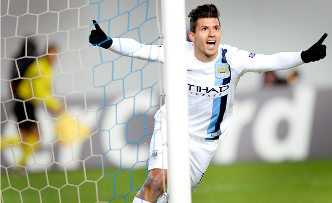 Sergio Aguero's brace brought City back from an early deficit to beat CSKA in the Champions League.