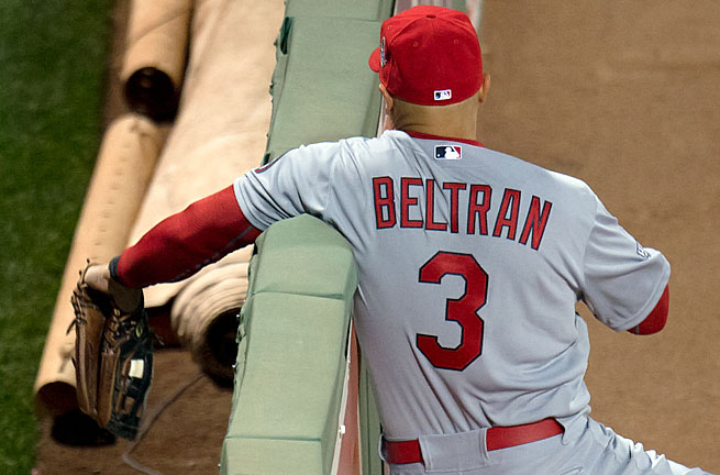 Carlos Beltran's second-inning catch in Game 1 saved three runs but cost him most of his first World Series appearance.