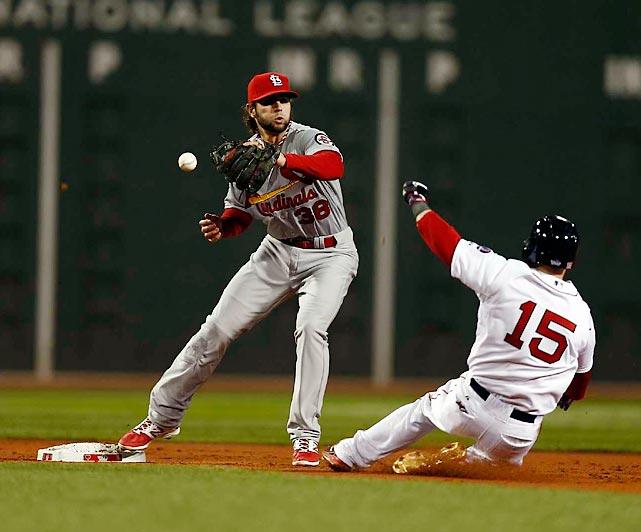 Pete Kozma can't quite reel in a throw from second baseman Matt Adams.