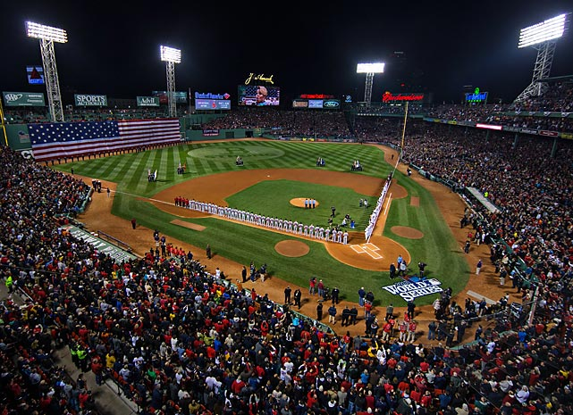 A packed Fenway Park crowd on its feet for the National Anthem before Game 1.