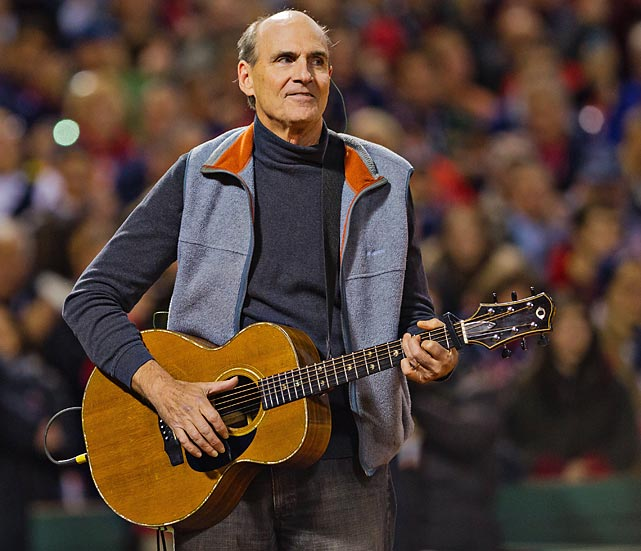 James Taylor sings the National Anthem before Game 2.