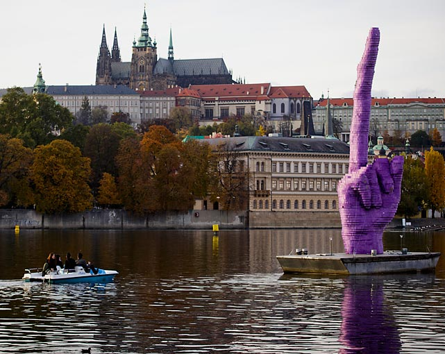 Taking a page from the end of <italics>Breaking Bad</italics>'s illustrious run, we'll conclude this week's episode by cue-ing up the Badfinger and presenting creator David Cerny's rather blunt message for Prague Castle, the seat of Czech Republic President Milos Zeman on the Moldau River. Of course, we wish you only the best. You can trust us.